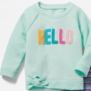 Old Navy Baby Girl's Hello Sweatshirt Size 2T